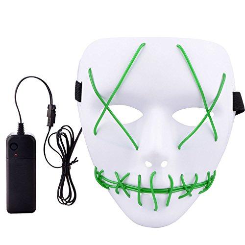 Moonvvin Halloween-Maske mit EL-Draht, für Cosplay, für Halloween, Festivals, Partys, Weiß, Plastik, grün, 5 * 5 * 5cm