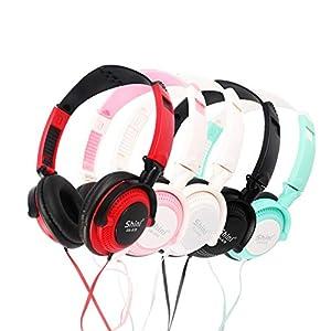 ParZ Leichte Faltbare Kopfhörer Verstellbarer Kopfbügel Kopfhörer mit Mikrofon 3,5 mm für Handys Smartphones iPhone Laptop-Computer Mp3 / 4-Ohrhörer