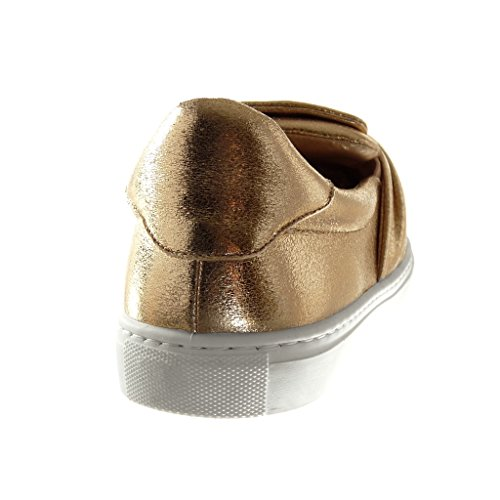 Angkorly Chaussures Mode Sneaker Slip-on Femme Brillant Bow Tie Talon Plat 2.5 Cm Champagne