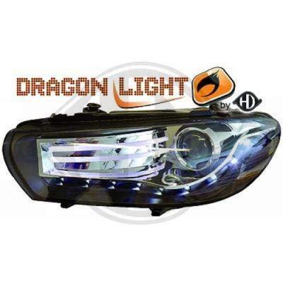 phares design, set SCIROCCO 08 cristal/noir avec feu de position LED DRAGON LIGHTS pour réglage électrique ampoules H7/H7