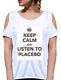 T SHIRT JODE GIRL GGG27 Z3410 KEEP CALM MEME LISTEN PLACEBO MUSIC FUN FASHION COOL