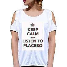 T SHIRT JODE GIRL GGG27 Z3410 KEEP CALM MEME LISTEN PLACEBO MUSIC FUN FASHION COOL