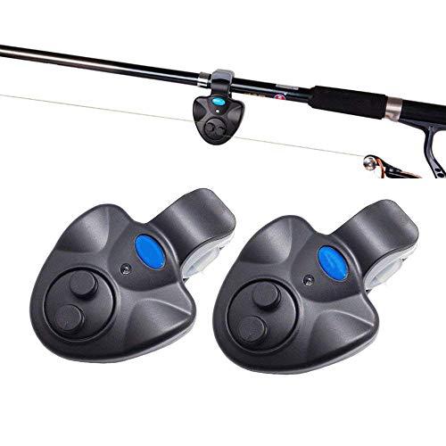 FUNXS Elektronischer Bissanzeiger mit Sound LED Lichter Indikator Fisch-Bissanzeiger für Angelruten (2 Stück) -