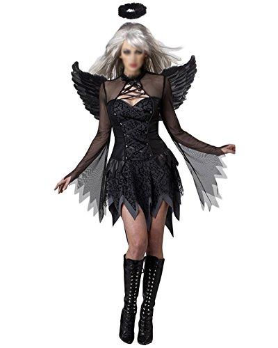 Damen Engel Hexe Cosplay Kostüm Kleid Karneval Halloween Fasching Cosplay Schwarz (Schwarze Lange Kleid Hexe)