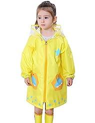 Feoya - Enfant Poncho de Pluie Garçon Fille Imperméable Animal Raincoat Coupe-vent Veste avec Capuche Anti-pluie 2-10ans Jaune