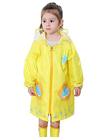 Feoya - Enfant Fille Garçon Veste Imperméable Poncho avec Visière Cape de Pluie Sèche Rapide 2-4ans Jaune