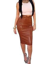 Kolylong Jupe Femme 2017 Vintage Jupe en Cuir PU Taille Haute Jupe Crayon  Jupe de Partie 11fc28ff4a63