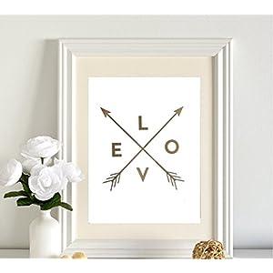 Poster Gold, Silber oder Kupfer LOVE Kompass