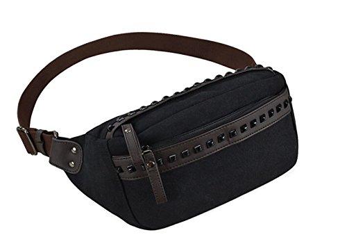 Fanny Pack, Taille Tasche oder Gürtel Tasche Ideal für Reisen oder den täglichen Gebrauch - Canvas-black