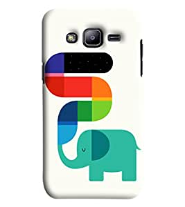 Blue Throat Elephant With Colourful Trunk Printed Designer Back Cover/Case For Samsung Galaxy J2
