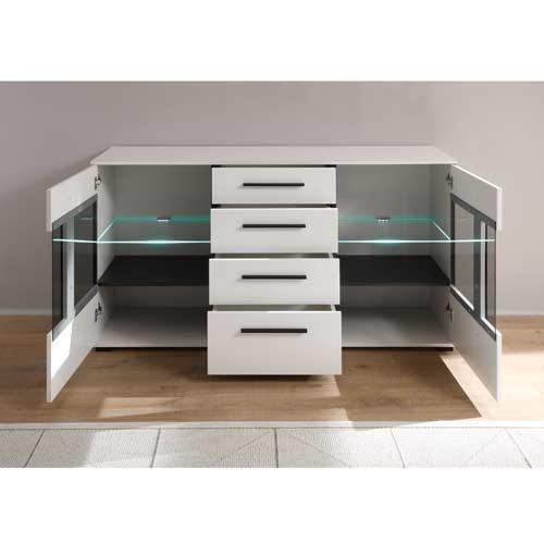 Sideboard in weiß mit Hochglanz Tiefziefronten und Grauglas, 2 Türen, 4 Schubkästen, Maße: B/H/T ca. 150/86/42 cm - 3