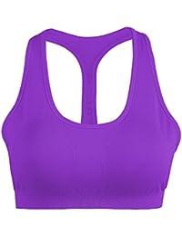 Mujer Shock Absorber Sujetador Deportivo Alto Impacto Sin Aros Running Yoga Aptitud Sujetador Push up Suave Respirable Violeta - L