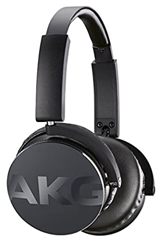 AKG Y50 Portable Foldable On-Ear Headphones Earphones with Detachable Cable and In-line Volume Remote/Microphone -