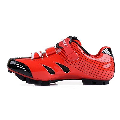 SIDEBIKE VTT Cyclisme Chaussures Hommes et Dames Mountainbike Chaussures Rouge Noir