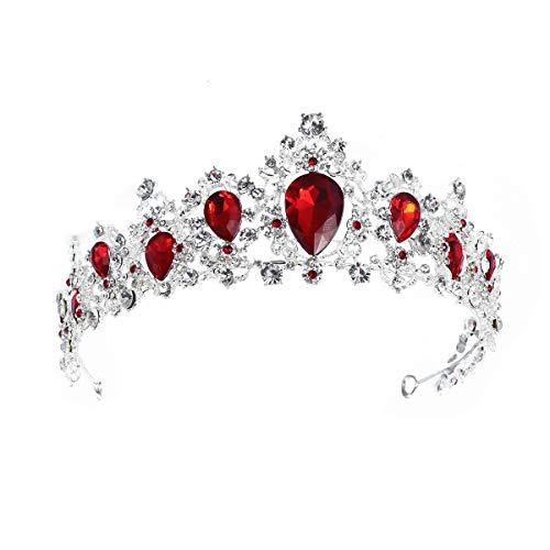 Lurrose Elegante Silber Braut Krone Strass Prinzessin Tiara für Party Pageant (rot)