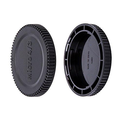 JJC Bouchon de Protection Frontal + Protège-objectif Arrière pour Micro Four Thirds i.e Olympus, Panasonic M4/3 Mirrorless Caméra & Objectif (1 Set)