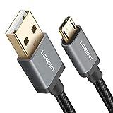UGREEN Micro USB Kabel Nylon 0.5m 2A USB 2.0 Schnellladekabel Datenübertragungskabel für Android Smartphones, Samsung, LG, Motorola, HTC, Sony, Xiaomi, Huawei, Lenovo, Android Tablets, PS4, Xbox usw Schwarz
