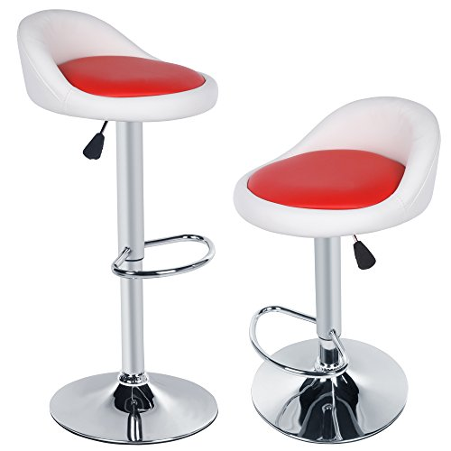 Fastdirect coppia sgabello da bar 2 sgabelli da lavoro poltroncina sedia cucina schienale in similpelle alta regolabile girevole con poggiapiedi paris francesco moderni classici leggero rosso nero (bianco+rosso)