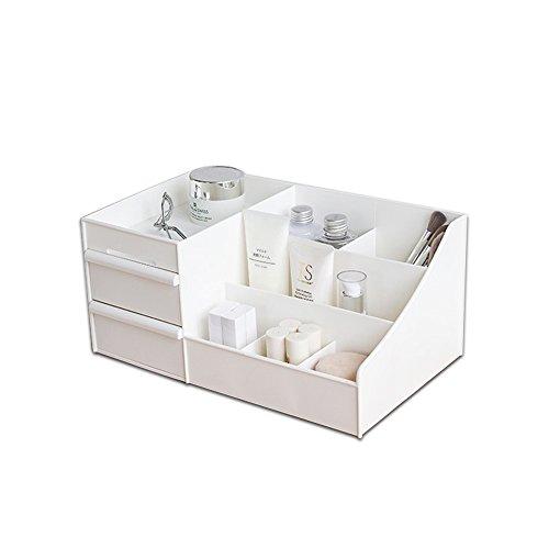 Desktop Cosmetics Aufbewahrungsbox mit Schubladen, BAFFECT® Make-up Organizer Schubladen Abteilung Schreibtisch Veranstalter Make-up Veranstalter für Schlafzimmer Badezimmer Büro (weiß) (Weißen Schreibtisch Für Schlafzimmer)