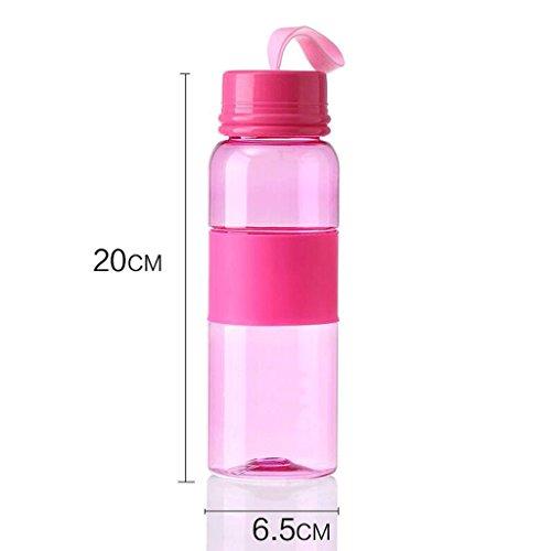 ZHAOJING Tragbare Outdoor Wasser Tasse Mit Deckel Kreative Kunststoff Einfache Und Haltbare Handschale Männlich Und Weiblich Studenten Transparent Hause 500 ml ( Farbe : Pink )