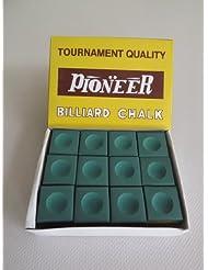 Pioneer - Juego de tizas para tacos de billar (12 unidades), color verde