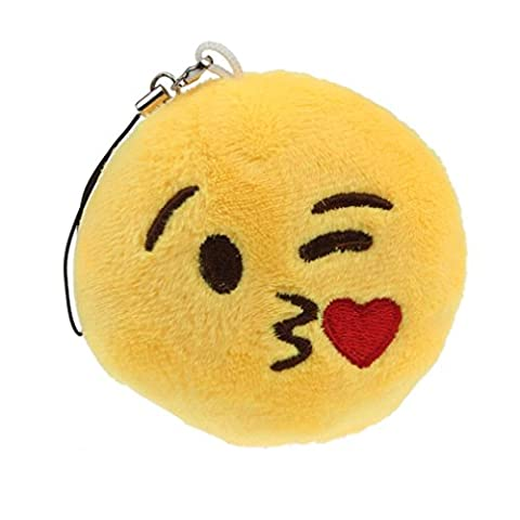 Yogogo Mignon Yeux Coeur Emoticon Smiley Emoji Porte-clé Peluche cadeau Pendentif Sac d'accessoires (E)