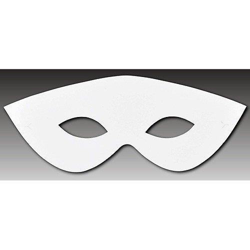 Augenmaske - Venezianische Maske aus Papier Pappe weiß - Papiermaske 23,5cm, 10 Stück