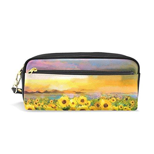 tizorax Ölgemälde gelb Golden Sunflower Daisy Blumen Bleistift Fall PU Leder Studenten Stationäre Pen Tasche Make-up Kosmetiktasche -