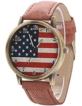 Armbanduhr - SODIAL(R) Unisex amerikanische Flagge Muster Bronze Denim Band Armbanduhr Braun