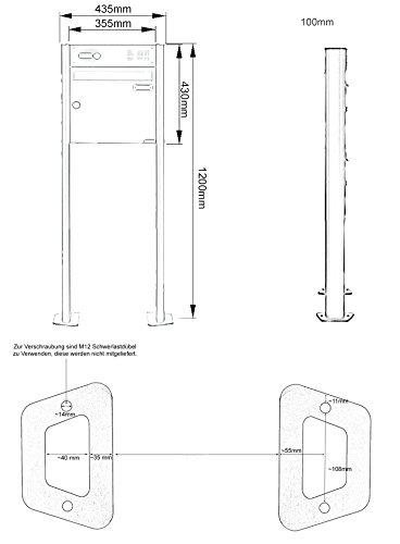 Standbriefkasten Design BASIC 380-P mit Klingel- Sprechteil – Anthrazitgrau 7016 (1 Parteien) - 10