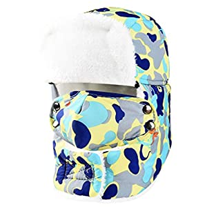 Vbiger Kinder Wintermütze Fliegermütze Trappermütze Warme Winddichte Gesichtsmaske geeignet für 6-10 Jahren Alt Skifahren Schlittschuhlaufen und anderen Outdoor Aktivitäten