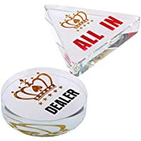 FLAMEER Acryl Poker Dealer und All-in Chips Pokerspiel Zubehör
