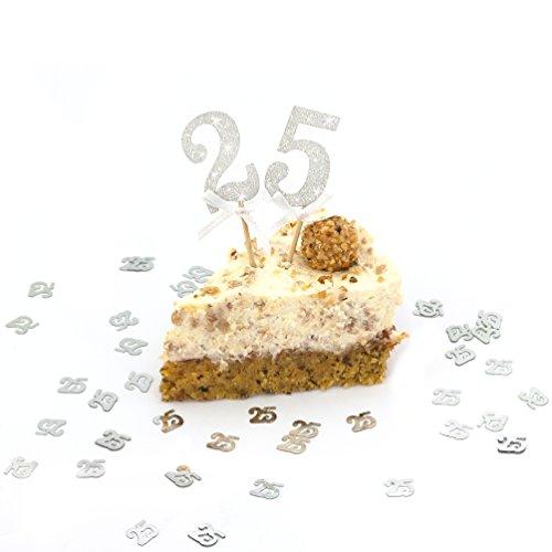 Geburtstag I Silberne Hochzeit I Jubiläum - Kuchen Dekoration Topper / Sticker mit eleganten Glitzereffekt in Silber im 2er Set (Zahlen 1 25)