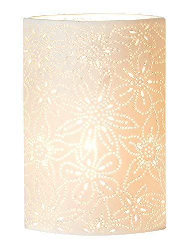 GILDE Lampe Prickel Blume - aus Porzellan mit Lochmuster im Prickellook H 28 cm
