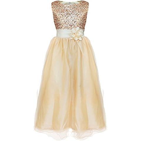 iEFiEL Vestido Elegante para Ninas Chicas de Ceremonia de Fiesta Con Lentejuelas Brillantes Varios Colores