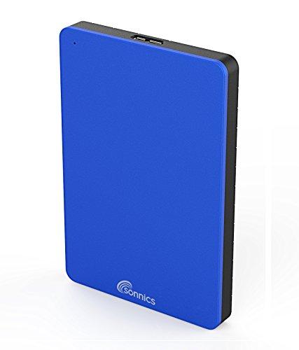 Sonnics 250GB Externe Festplatte Blau USB 3.0 für Verwendung mit Windows PC, Apple Mac, Smart TV & Xbox 360