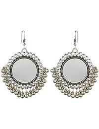 """""""Dokari Afghani Designer Vintage Oxidised German Silver Tribal Hoop Dangler Hanging Mirror Chandbali Earring Antique Jewellery for Girls & Women"""""""