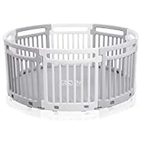 Baby Vivo Child Plastic Playpen Round Portable Room Divider Kids Barrier for Indoor and Outdoor with Mat 8 Elements Grey/White - Lucy