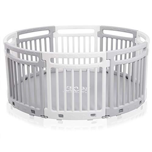 Baby Vivo Box Bambini Recinto in Plastica Sicurezza Tondo Barriera Giochi Protezione con Tessuto 8 Elementi Grigio/Bianco - Lucy