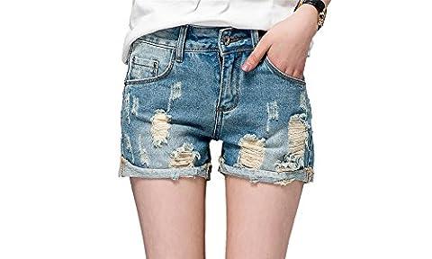 DQQ Women's Roll Cuff Ripped Distressed Hot Shorts Jeans UK 20 Blue