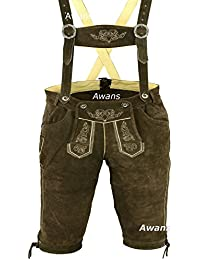 Mens Bavarian LEDERHOSEN with Matching Suspenders Shorts Cowhide Leather: Brown Size: 32 inch