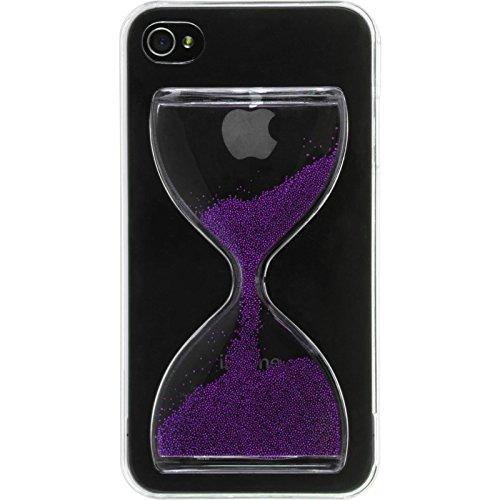 PhoneNatic Case für Apple iPhone 4S Hülle rot Sanduhr Hard-case für iPhone 4S + 2 Schutzfolien Lila