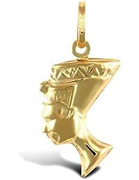 Jewelco London Ladies 9ct Yellow Gold Nefertiti Head Egyptian Charm Pendant