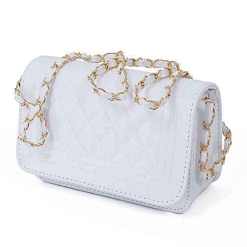 SODIAL(R) Borse di cuoio delle donne del sacchetto di spalla delle borse del messaggero delle donne bianca Bianco - bianco
