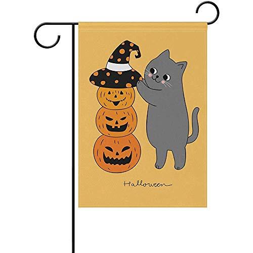 hdgfjhdfjdf Halloween Pumpkin Cat Witch Autumn Fall Garden House Flag Yard Banner for Outside Flower Pot Double Side Print 12