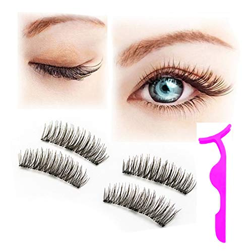 8b5f1f917c0 Magnetic Eyelashes, NO GLUE 3D Reusable Fake Magnet Eyelashes Extensions  With Tweezers, 0.2mm