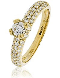0.80CTS Certified G/VS2 centre 0.25CT Brilliant Diamond Cut Ring in 18k Yellow Gold