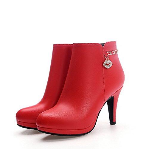VogueZone009 Donna Tacco Alto Puro Punta Tonda Luccichio Cerniera Stivali con Talismano Rosso