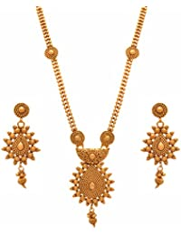 BFC-Traditional Ethnic One Gram Gold Plated Designer Long Necklace Set With Earrings For Women & Girls.