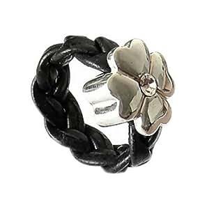 SilberDream 925 Silber Leder Ring Klee schwarz Schmuck RXL20